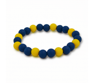 Náramek ze silikonových korálků - žlutý/modrý