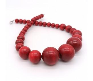 Dřevěné korále krátké – rubínově červené