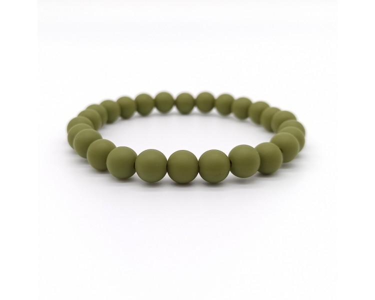"""Náramek ze silikonových korálků - """"army"""" zelený"""