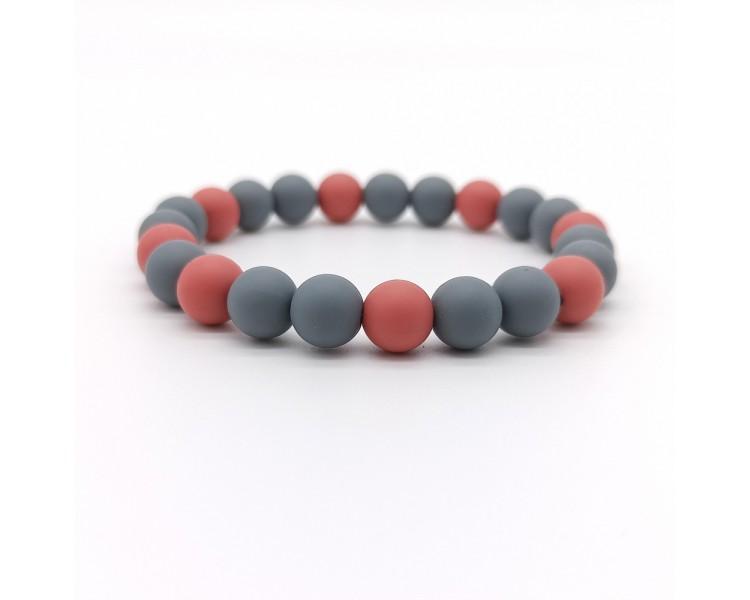 Náramek ze silikonových korálků - šedý/hnědočervený