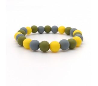 Náramek ze silikonových korálků - šedý/žlutý/olivový