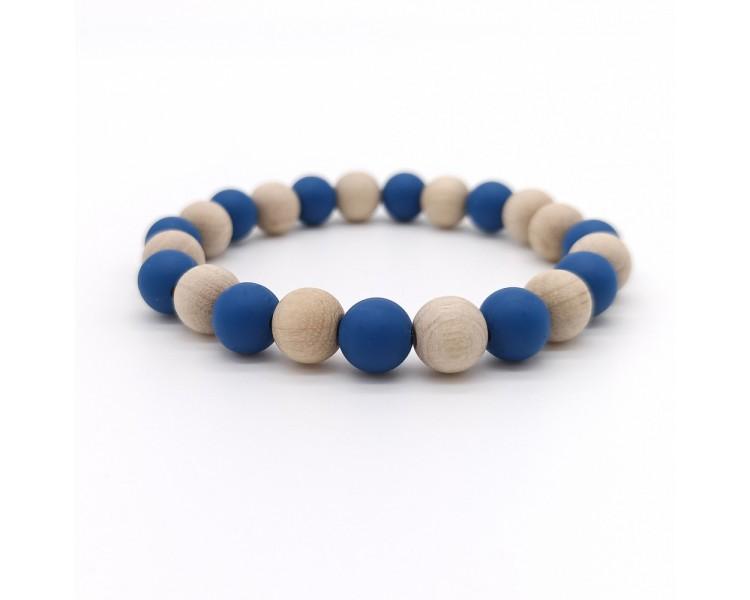 Náramek ze silikonových korálků - dřevěný/modrý