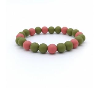Náramek ze silikonových korálků - olivový/hnědočervený