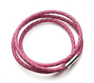 Kožený náramek dámský- růžový