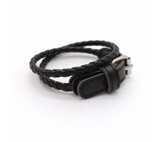 Kožený náramek s přezkou - černý