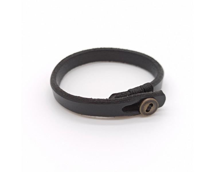 Kožený náramek s knoflíkem - černý
