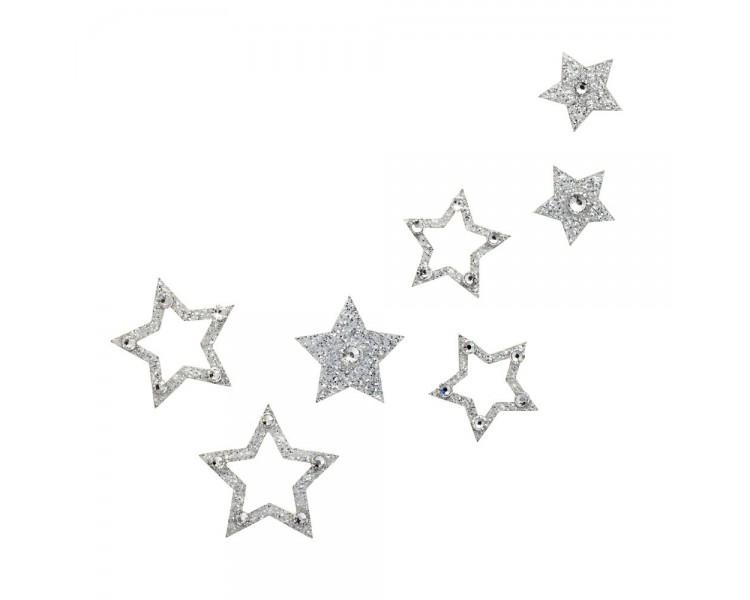 Hvězdy - stříbrná/čiré krystaly