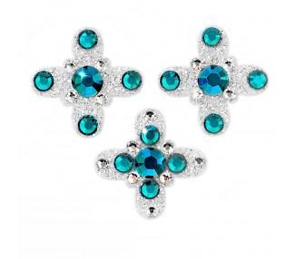 Amulet - stříbrná/zelené krystaly