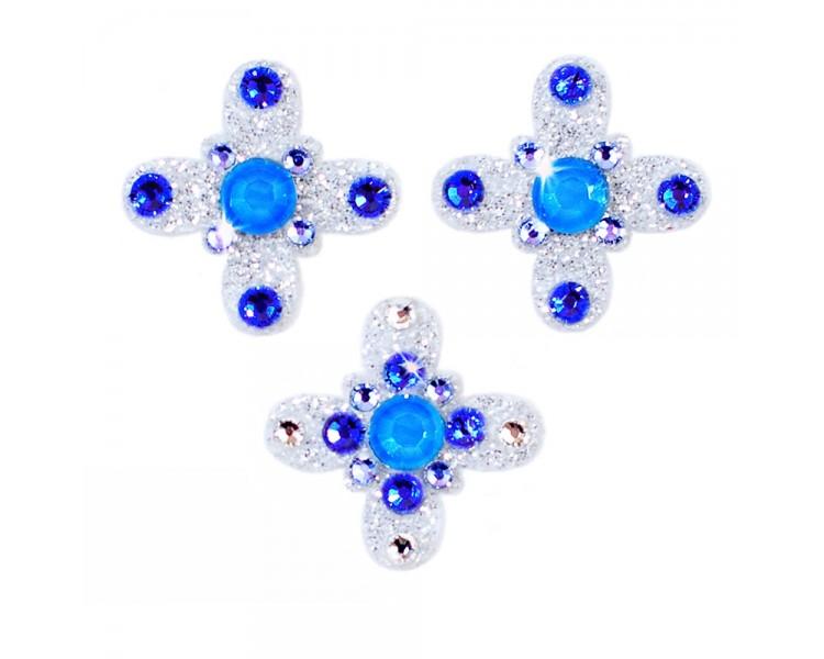 Amulet - stříbrná/modré krystaly