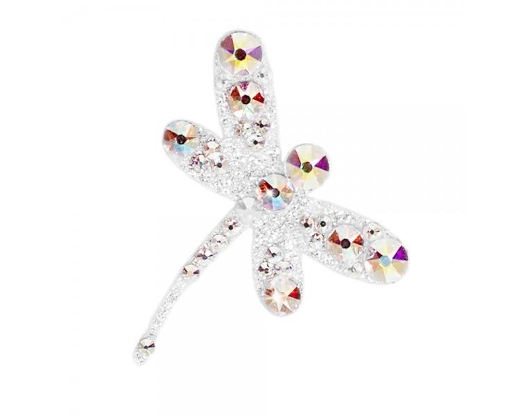 Vážka - stříbrná/krystaly s barevnými odlesky