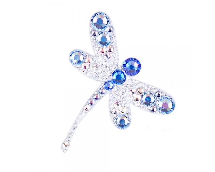 Vážka - stříbrná/modré krystaly