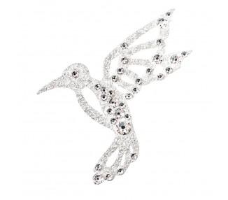 Kolibřík - stříbrná/čiré krystaly