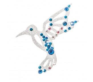Kolibřík - stříbrná/tyrkysové krystaly