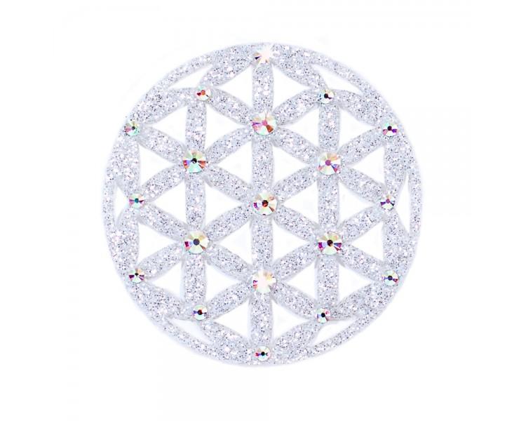 Květ života - stříbrná/krystaly s barevnými odlesky