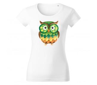 Tričko dámské Vipe  - Sova zelená