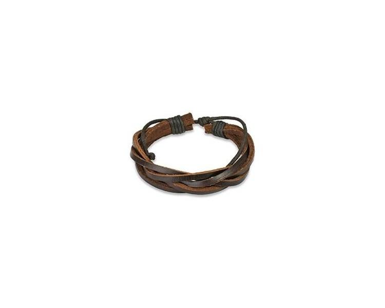 Kožený náramek volně splétaný - tmavě hnědý
