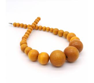 Dřevěné korále krátké – zlatavě žluté
