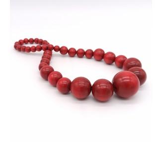 Dřevěné korále dlouhé – rubínově červené