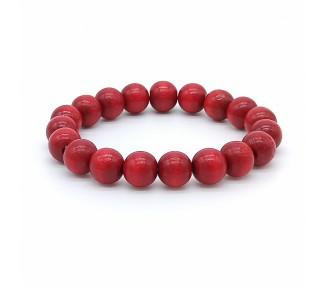 Korálkový náramek - rubínově červený