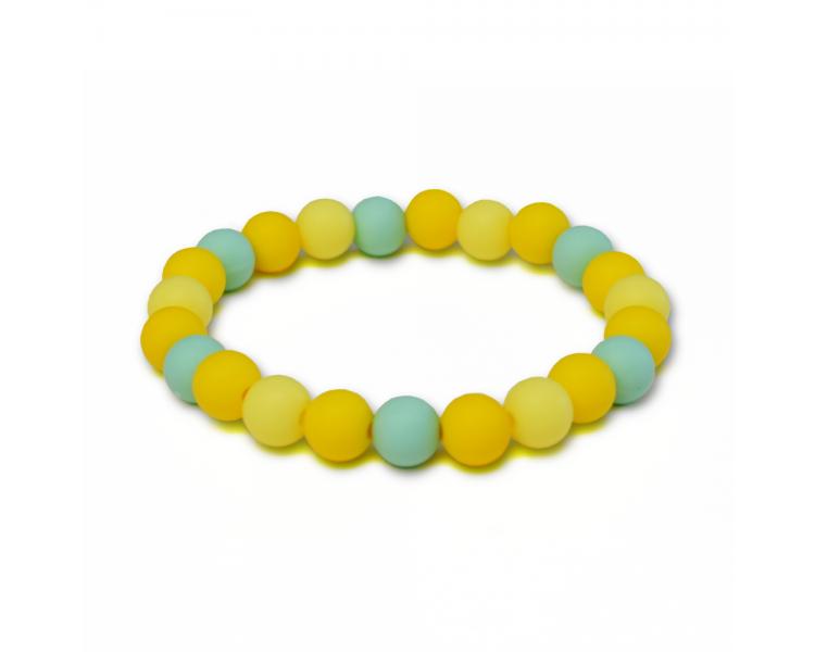 Náramek ze silikonových korálků - tyrkysový/žlutý