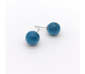 Dřevěné náušnice pecky – průzračně modré