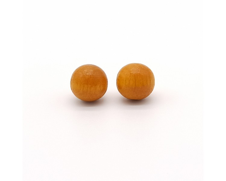 Dřevěné náušnice pecky – zlatavě žluté