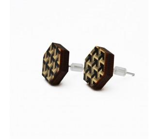 Dřevěné náušnice šestiúhelníky - černo/bílé